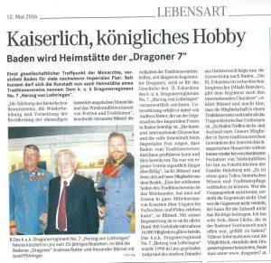 Bericht DR7 Badener Zeitung Mai 2015